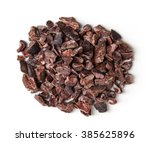 heap of cacao nibs  isolated on ... | Shutterstock . vector #385625896
