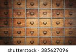 apothecary wood chest with... | Shutterstock . vector #385627096