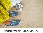 mother and daughter in summer... | Shutterstock . vector #385636222