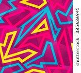 bright graffiti seamless... | Shutterstock .eps vector #385636945
