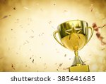 3d rendered gold star trophy in ... | Shutterstock . vector #385641685