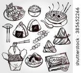 oriental foods set. poster in... | Shutterstock .eps vector #385652266