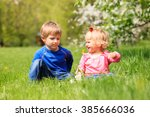 happy kids play with spring... | Shutterstock . vector #385666036