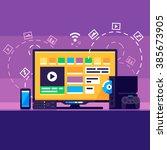 home media center. smartphone ...   Shutterstock .eps vector #385673905