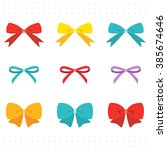 set of colorful cute ribbon  | Shutterstock .eps vector #385674646