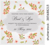 invitation or wedding card with ... | Shutterstock .eps vector #385688215
