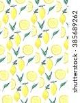 yellow lemon and green leaves... | Shutterstock . vector #385689262