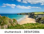 Coast Of Cornwall With A Sandy...