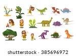 dinosaurs and prehistoric... | Shutterstock .eps vector #385696972