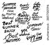 summer calligraphic designs set.... | Shutterstock . vector #385700596