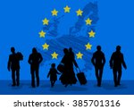refugees men and women with... | Shutterstock .eps vector #385701316