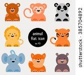 set of flat animal icon. vector ... | Shutterstock .eps vector #385704892