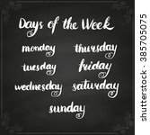 handwritten days of the week ... | Shutterstock . vector #385705075