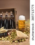 beer crate and beer glass with... | Shutterstock . vector #385713775
