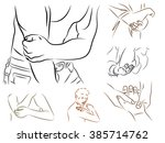 a man holding his elbow ... | Shutterstock .eps vector #385714762