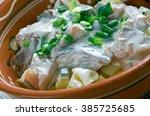 Stock photo estonian silgu kartulisalat salad of herring potatoes with sour creambaltic cuisine 385725685