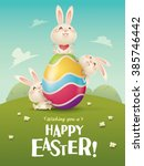 happy easter  easter bunnies... | Shutterstock .eps vector #385746442
