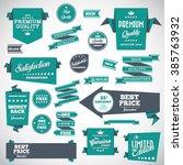vintage labels set   origami... | Shutterstock .eps vector #385763932
