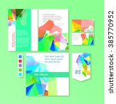 colorful polygonal templates set | Shutterstock .eps vector #385770952