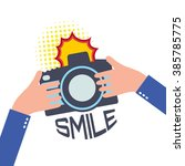 camera with flash in flat style ... | Shutterstock . vector #385785775