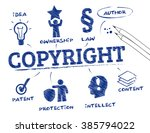 copyright. chart with keywords... | Shutterstock .eps vector #385794022