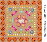 colorful halloween pattern with ... | Shutterstock . vector #38579464