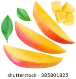 mango fruit slices  cubes and... | Shutterstock . vector #385801825