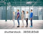 Stock photo family gender high and people concept group of men and women from side over terminal with 385818568