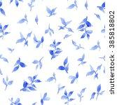 blue leaves on a white... | Shutterstock . vector #385818802