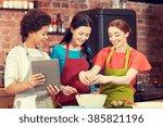cooking class  friendship  food ...   Shutterstock . vector #385821196