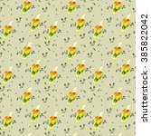 pattern orange bird on olive... | Shutterstock . vector #385822042