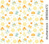 vector abstract little flowers... | Shutterstock .eps vector #385836472