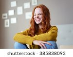 pretty vivacious young woman... | Shutterstock . vector #385838092