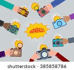 set of hands holding cameras.... | Shutterstock . vector #385858786