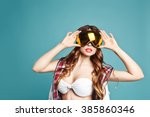 portrait of young sexy girl in... | Shutterstock . vector #385860346