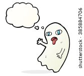 funny cartoon ghost with... | Shutterstock .eps vector #385884706