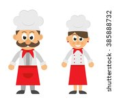 cartoon chef man and  woman in... | Shutterstock .eps vector #385888732