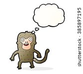 cartoon monkey with thought... | Shutterstock .eps vector #385897195