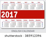 english pocket calendar for... | Shutterstock .eps vector #385912396