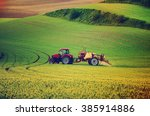farm machinery spraying... | Shutterstock . vector #385914886