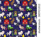 seamless  tileable farm animal... | Shutterstock .eps vector #385921312