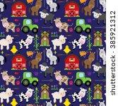 seamless  tileable farm animal... | Shutterstock .eps vector #385921312