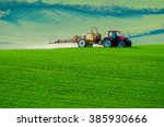 farm machinery spraying... | Shutterstock . vector #385930666