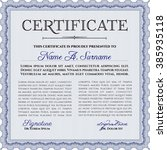 blue sample diploma. modern... | Shutterstock .eps vector #385935118