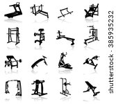 gym equipment icon set ... | Shutterstock .eps vector #385935232