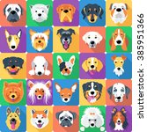 Stock vector vector seamless background with dogs icon flat design 385951366