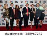Small photo of NEW YORK-FEB 16:(L-R)Lara Yunaska, Eric Trump, Melania Trump, Barron Trump, Donald Trump, Ivanka Trump, Donald Trump Jr. & Tiffany Trump at 'Celebrity Apprentice' on February 16, 2015 in New York.