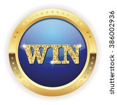 blue win badge with gold border ... | Shutterstock .eps vector #386002936