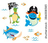 set of cute animals pirate... | Shutterstock .eps vector #386008585
