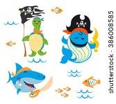 set of cute animals pirate...   Shutterstock .eps vector #386008585
